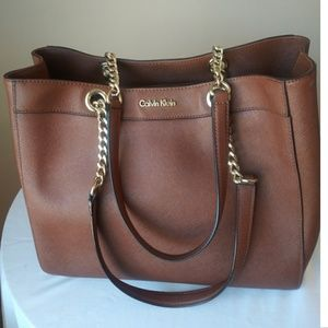 Calvin Klein Large Shoulder Bag Gold Hardware